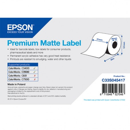 Epson Endlos-Papieretiketten, Normalpapier, Premium matt, 51mm x 35m