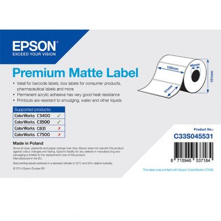 Epson Papieretiketten, Normalpapier, Premium matt, 102mm x 51mm, 650 Etiketten/Rolle