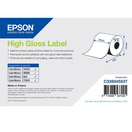 Epson Endlos-Papieretiketten, Normalpapier, glänzend, 76mm x 33m