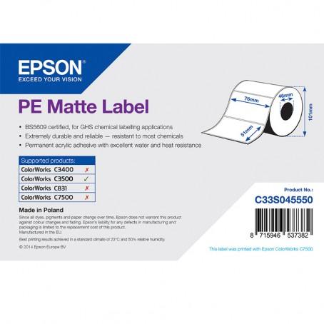Epson Kunststofftiketten, matt, 76mm x 51mm, 535 Etiketten/Rolle