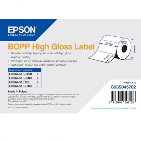 Epson Kunststofftiketten, glänzend, 102mm x 51mm, 2770 Etiketten/Rolle