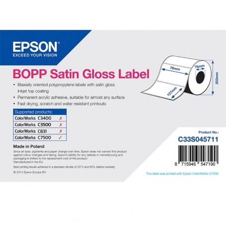 Epson Kunststofftiketten, glänzend seidenmatt, 76mm x 127mm, 1150 Etiketten/Rolle