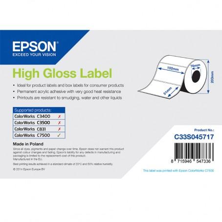 Epson Papieretiketten, glänzend, Normalpapier, 102mm x 51mm, 2310 Etiketten/Rolle