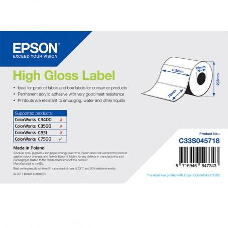 Epson Papieretiketten, glänzend, Normalpapier, 102mm x 76mm, 1570 Etiketten/Rolle