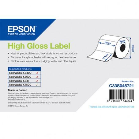 Epson Papieretiketten, glänzend, Normalpapier, 76mm x 127mm, 960 Etiketten/Rolle