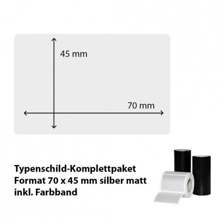 Typenschild-Etiketten 70 mm x 45 mm, silber matt inkl. Thermo-Transferband