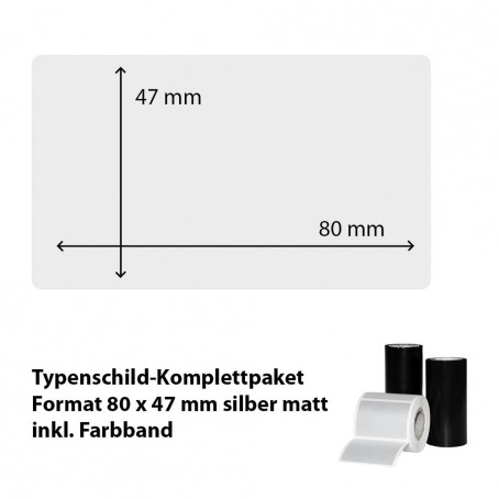 Typenschild-Etiketten 80 mm x 47 mm, silber matt inkl. Thermo-Transferband
