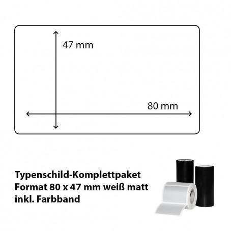 Typenschild-Etiketten 80 mm x 47 mm, weiß matt inkl. Thermo-Transferband