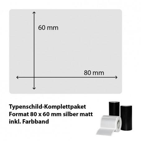 Typenschild-Etiketten 80 mm x 60 mm, silber matt inkl. Thermo-Transferband
