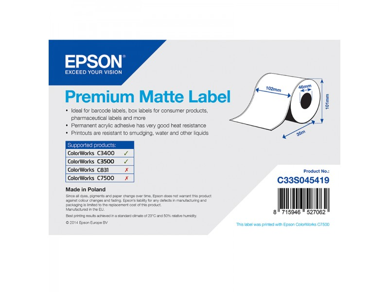 Epson Endlos-Papieretiketten, Normalpapier, Premium matt, 102mm x 35m