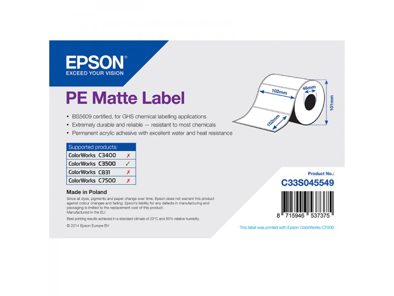 Epson Kunststofftiketten, matt, 102mm x 152mm, 185 Etiketten/Rolle