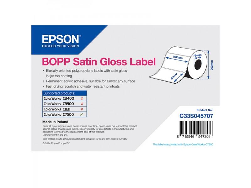 Epson Kunststofftiketten, glänzend seidenmatt, 102mm x 51mm, 2770 Etiketten/Rolle