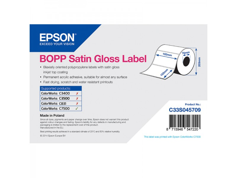 Epson Kunststofftiketten, glänzend seidenmatt, 102mm x 152mm, 960 Etiketten/Rolle
