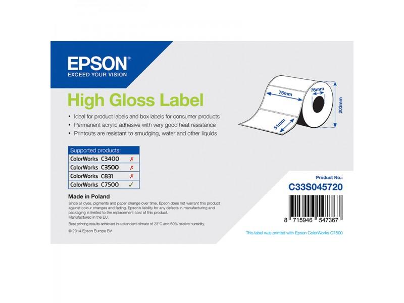 Epson Papieretiketten, glänzend, Normalpapier, 76mm x 51mm, 2310 Etiketten/Rolle