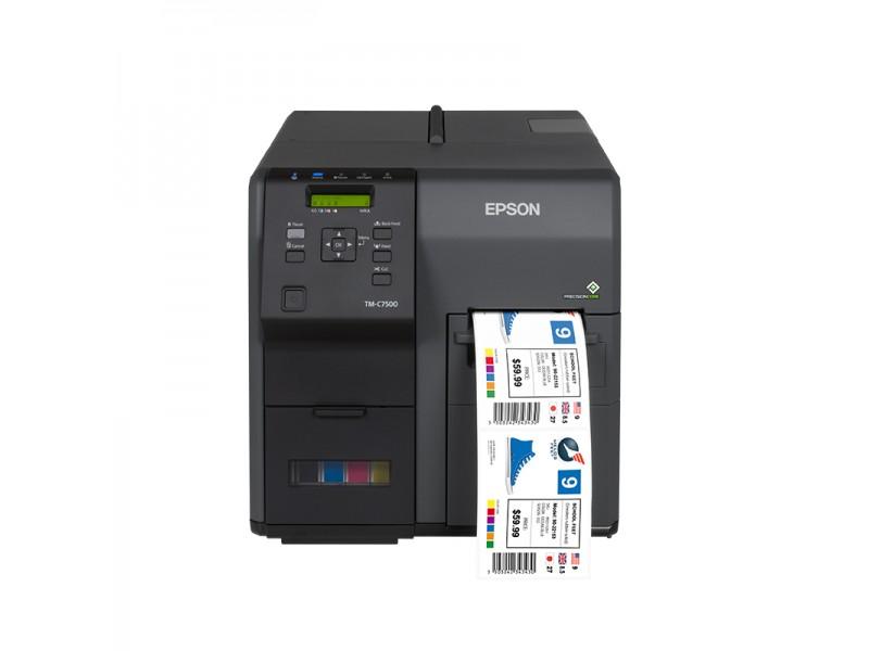 Epson ColorWorks C7500G, 600 x 1200 dpi, unterstützt Glanzpapier, Cutter, Dispenser, USB, Ethernet, schwarz