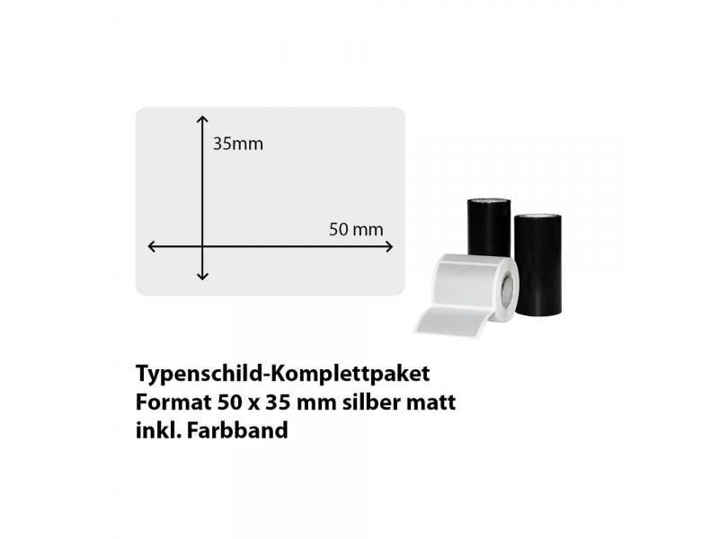 Typenschild-Etiketten 50 mm x 35 mm, silber matt inkl. Thermo-Transferband