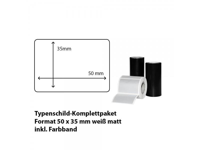 Typenschild-Etiketten 50 mm x 35 mm, weiß matt inkl. Thermo-Transferband