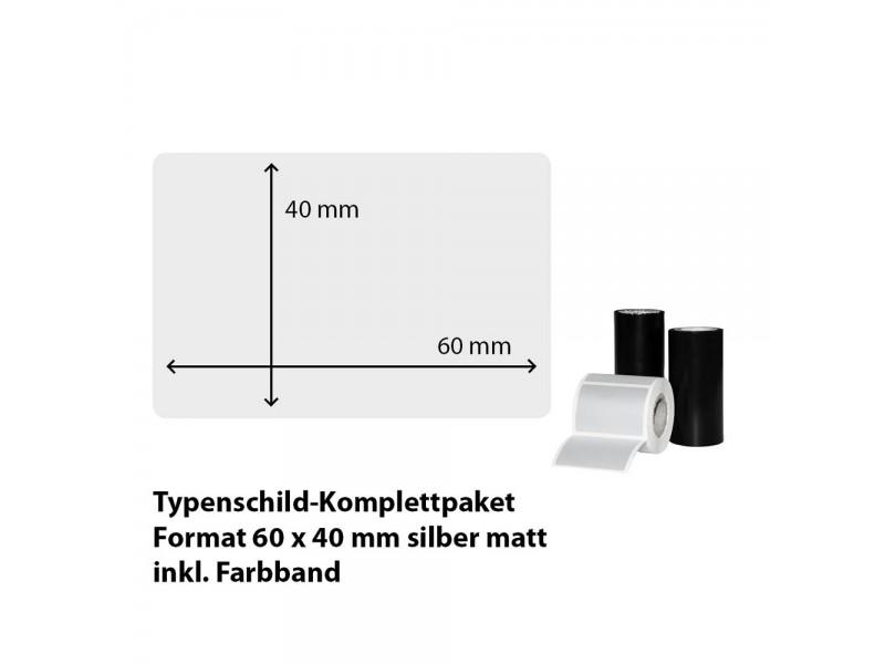Typenschild-Etiketten 60 mm x 40 mm, silber matt inkl. Thermo-Transferband