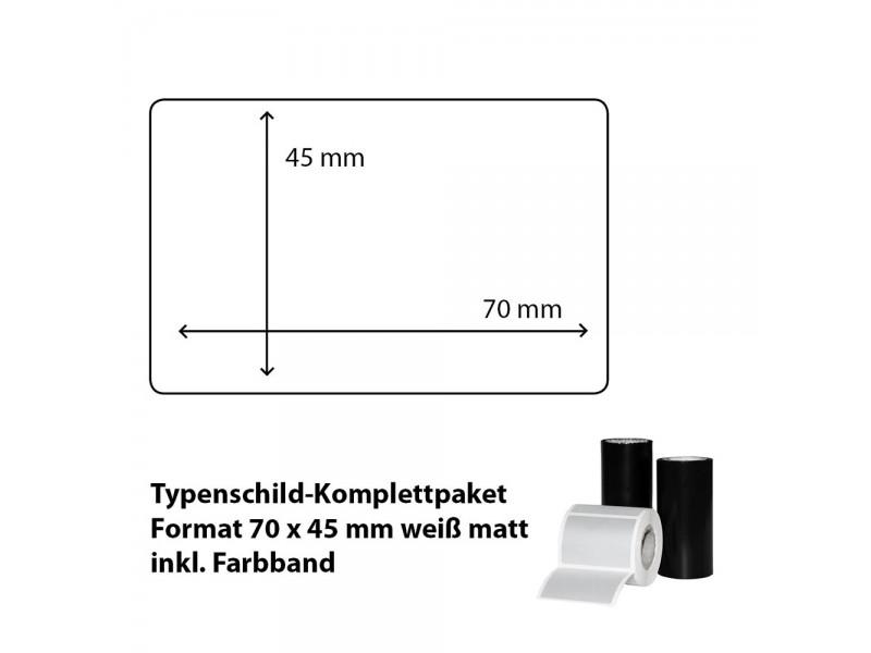 Typenschild-Etiketten 70 mm x 45 mm, weiß matt inkl. Thermo-Transferband