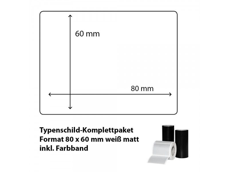 Typenschild-Etiketten 80 mm x 60 mm, weiß matt inkl. Thermo-Transferband