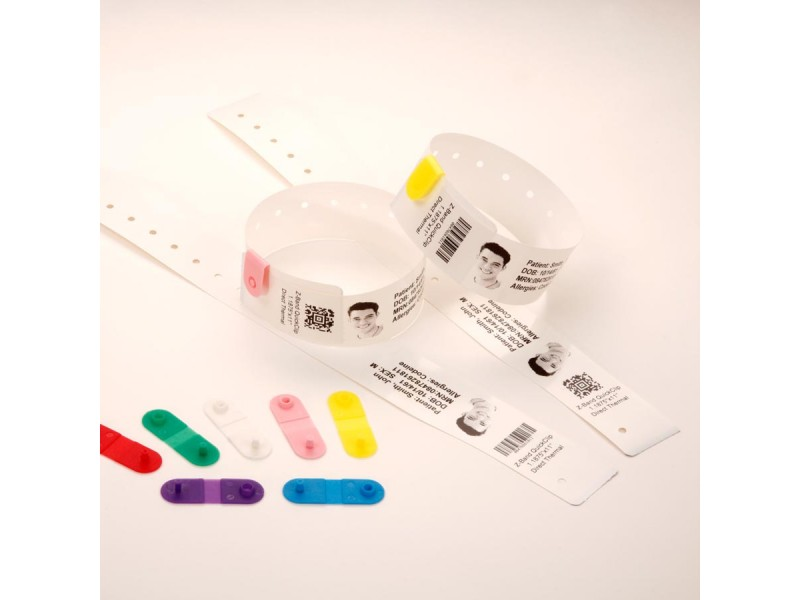 Thermopapier-Armbänder 25 x 178 mm, Zebra Z-Band Quickclip (HC100), weiß