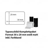 Typenschild-Etiketten 30 mm x 20 mm, weiß matt inkl. Thermo-Transferband