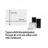 Typenschild-Etiketten 40 mm x 30 mm, silber matt inkl. Thermo-Transferband