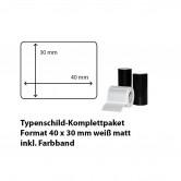 Typenschild-Etiketten 40 mm x 30 mm, weiß matt inkl. Thermo-Transferband
