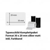 Typenschild-Etiketten 30 mm x 20 mm, silber matt inkl. Thermo-Transferband