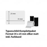 Typenschild-Etiketten 35 mm x 25 mm, silber matt inkl. Thermo-Transferband
