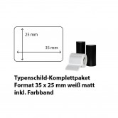 Typenschild-Etiketten 35 mm x 25 mm, weiß matt inkl. Thermo-Transferband